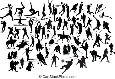 矢量, 運動, 運動, silhouettes., 插圖