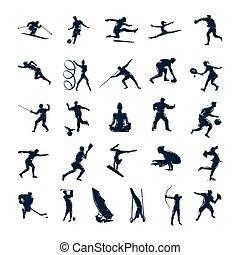 矢量, 運動, 黑色半面畫像, 集合, 人們