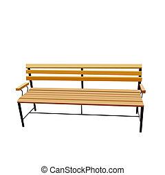 矢量, 長凳, 被隔离, 白色, 現實, 插圖, 背景。