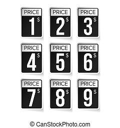 矢量, 集合, 價格, 標籤, 標簽, 黑色