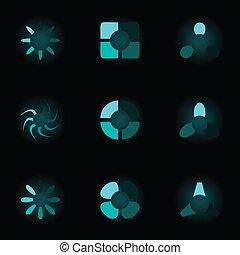 矢量, 集合, 氖, 插圖, icons.