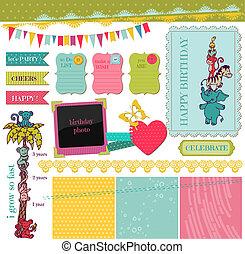 矢量, 集合, -, 生日, 設計, 嬰孩, 剪貼簿, 元素