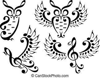 矢量, 集合, 音樂, 鳥, 貓頭鷹