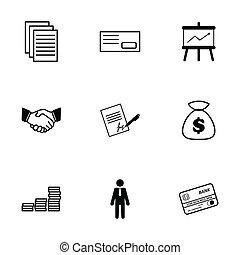 矢量, 集合, 黑色, 商務圖標