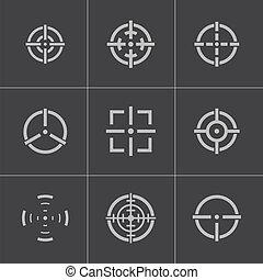 矢量, 集合, crosshair, balck, 圖象