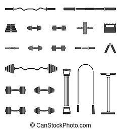 矢量, 集合, illustration., 設備, 運動