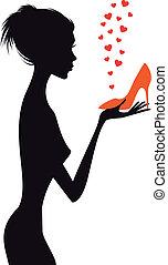 矢量, 鞋子, 婦女, 時裝, 紅色