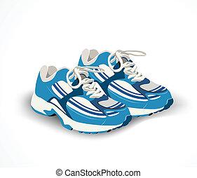 矢量, 鞋子, sneakers., 運動, 插圖