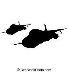 矢量, 飛机, 反對, 設計者, 不同, 彙整, silhouettes., 插圖