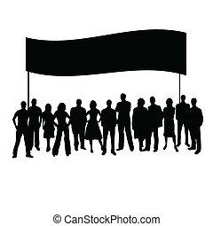 矢量, 黑色半面畫像, 人們