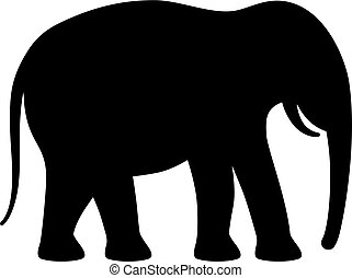 矢量, 黑色半面畫像, 大象, 圖象