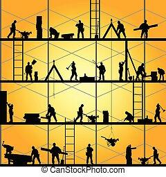 矢量, 黑色半面畫像, 工作, 工人, 插圖, 建設