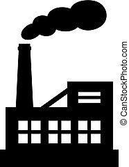 矢量, 黑色半面畫像, 工廠, 圖象