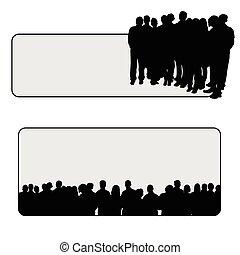 矢量, 黑色半面畫像, 插圖, 人們