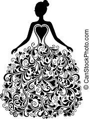 矢量, 黑色半面畫像, 衣服, 美麗