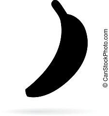 矢量, 黑色半面畫像, 香蕉, 圖象