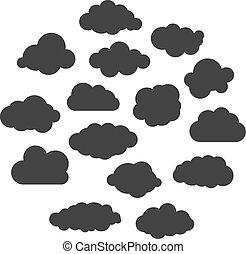 矢量, 黑色, 彙整, 云霧, 插圖