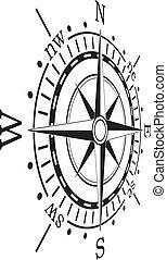 矢量, 黑色, 指南針