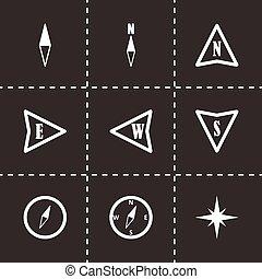 矢量, 黑色, 指南針, 集合, 圖象
