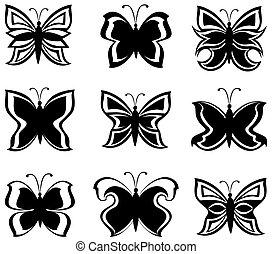 矢量, 黑色, 被隔离, 白色, 彙整, 蝴蝶, 插圖