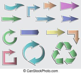 矢量, arrows., 插圖, 彙整, 黏性