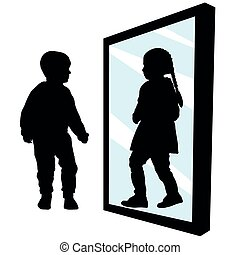 矢量, body., 看見, 性, 插圖, transition., 鏡子。, 反映, 女孩, transvestism., 黑色半面畫像, change., 男孩, 你, 不, transgender