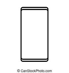 矢量, cellphone, smartphone, 現代, 被隔离, 插圖, 長方形, 背景。, 電腦, 黑色, 聰明, 數字, 白色, 技術, concept:, 圖象