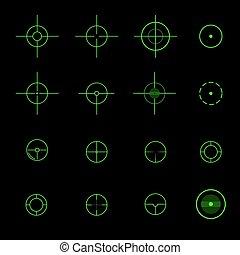 矢量, crosshairs., 不同, 集合