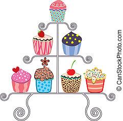 矢量, cupcakes, 各種各樣, 站, 彙整
