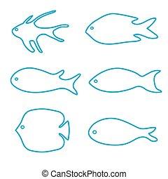 矢量, fish, 集合, silhouettes-, 插圖