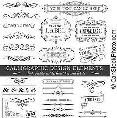 矢量, flourishes, 金絲的細工飾品, 設計, 集合