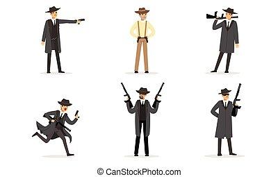 矢量, gangsters., 人, 衣服, illustration.