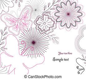矢量, hand-drawn, 花, butterfly.