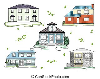 矢量, houses., 風格, 插圖, 略述, 集合, 不同