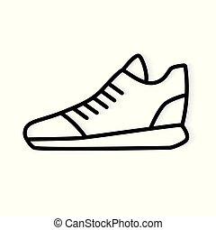 矢量, icon-, 黑色, 插圖, 跑鞋