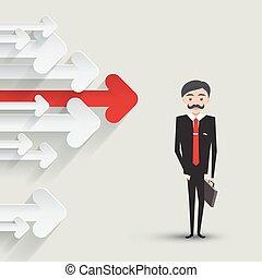 矢量, illustration., case., 箭, 紙, 紅色箭頭, 衣服, 商人, 聰明