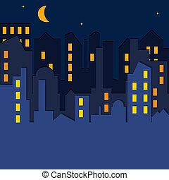 矢量, illustration., cityscape.