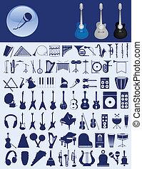矢量, instruments., 音樂, 插圖, 圖象