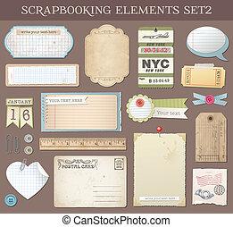 矢量, scrapbooking, 2, 集合, 元素
