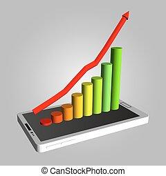 矢量, smartphone, 時間表, 顯示, 銷售, profits., 增加, infographic, 成長, infographics, 設計, smartphones., 樣板