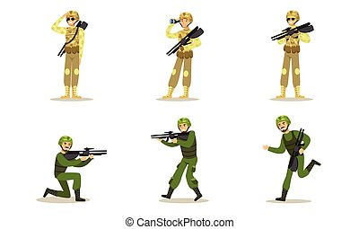 矢量, uniforms., 原色嗶嘰, 人, 軍事, illustration., 綠色, 集合