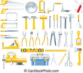 矢量, woodworker, 集合, 工具, 圖象
