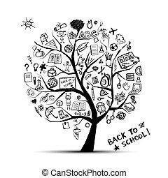 知識, 概念, 樹, 學校, 設計, 你