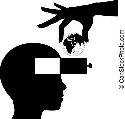 知識, 頭腦, 學生, 學習, 世界, 教育