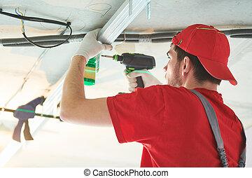 石膏板, 天花板, home., 承包商, 安裝, 框架, 石膏, 金屬, work., 建設, drywall, 工人