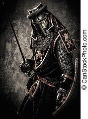 石頭, 中世紀, 牆, 騎士, 針對, 劍