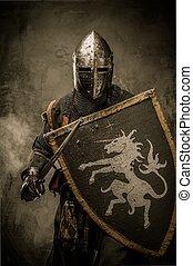 石頭, 中世紀, 牆, 騎士, 針對, 劍, 盾