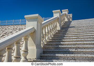 石頭, 白色, 樓梯, 欄杆