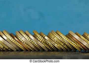 硬幣, 堆積, 邊, 歐元