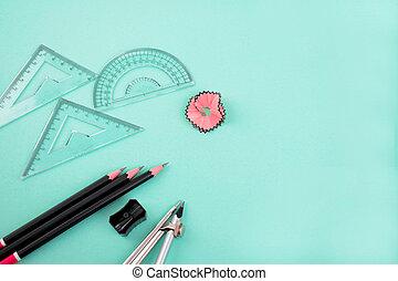 磨具, tools., 指南針, 附加, 一些, 鉛筆, 鉛筆, 測量, 束